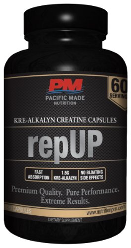 Repup Kre-Alkalyn Creatine Capsules / No Pre-Loading Required / All The Benefits Of Regular Creatine Without The Bloating / 60 Servings, 120 Capsules