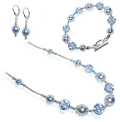 Silver Crystal Faux Pearl Bracelet Earrings 14