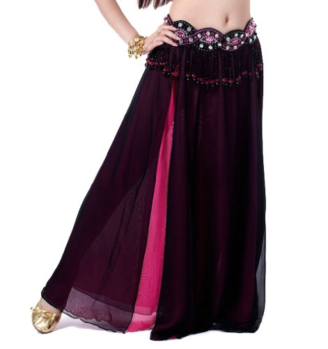 Sexy Belly Dance Dancing Skirt Chiffon Belly Dancing Costume Set + 2 Side Slits