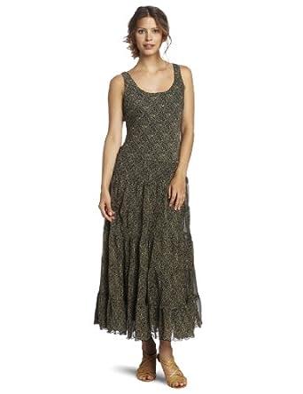 Jones New York Women's Etched Triangle Printed Chiffon Tier Maxi Dress, Khaki/Black, 4