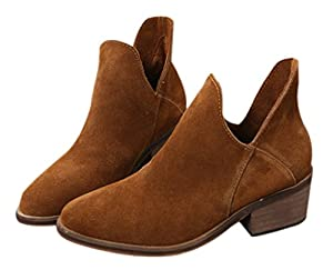 Women's Casual Round Toe Slip On Ankle booties Suede Leather Low Stacked Heel Boot Shoes Camel Size 8 EU39