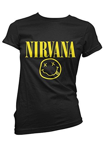 T-shirt Donna Nirvana - maglietta 100% cotone LaMAGLIERIA, S, Nero