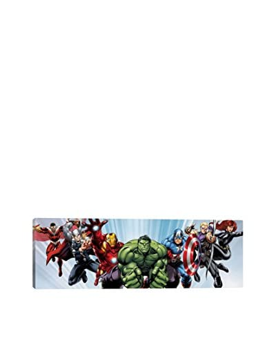 Avenger Heroes Flying Comic Panoramic Gallery-Wrapped Canvas Print