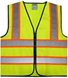 """GripGlo TLS-145 Super High Visibility Reflective Safety Vest Neon Lime Zipper Front, 2"""" Reflective Strips With ORANGE TRIM For MAXIMUM VISIBILITY - Meets ANSI/ISEA 107-2010 - Class 2/Level 2 - X-Large"""