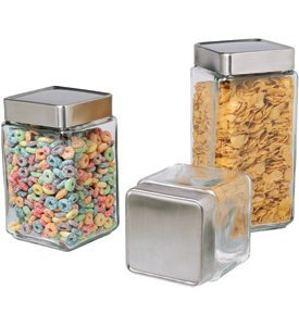 Anchor Hocking Stackable Square Glass Storage Jar with Aluminum LidB0000VLQTS