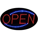 Oval Shaped LED Sign Reads OPEN with Animation and Power (On & Off) Two Switches for Business (Red Blue Open OV)