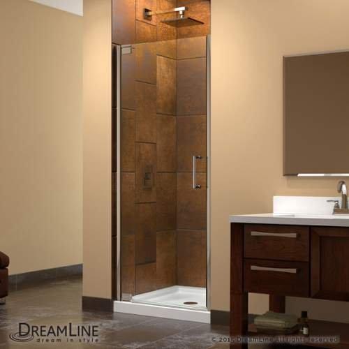 DreamLine Elegance 34-36 in. Width, Frameless Pivot Shower Door, 3/8