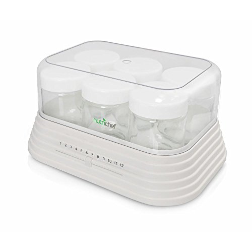 NutriChef Electronic Yogurt Maker machine, Greek Yougurt - 6 Glass Jars (PKYM18 ) (7 Ounce Glass Jar compare prices)