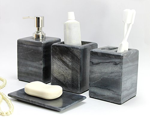 Bathroom Accessory Set Made From Natural Black/Grey Stone