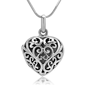 Heart Shaped Designer Locket Pendant Necklace, 18 inches: Jewelry