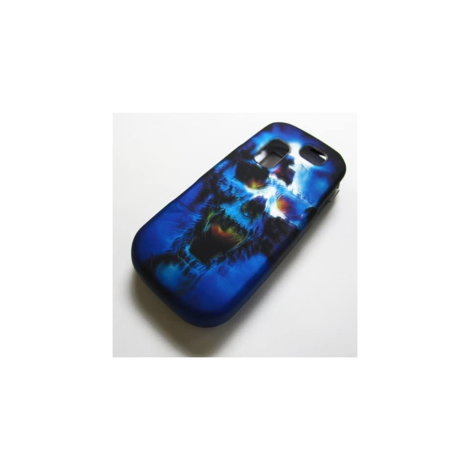 RUBBERIZED HARD PHONE CASES COVERS SKINS SNAP ON FACEPLATE PROTECTOR FOR SAMSUNG SGH T404G STRAIGHT TALK NET10 TRACFONE  OR GRAVITY 2 II SGH T469 T.MOBILE Slide / BLUE SKULL (WHOLESALE PRICE)