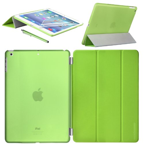 Swees® Smart Cover and Case posteriore per Apple iPad mini / iPad mini Retina / ipad mini 3 Display Custodia Poliuretano slim più back cover Case Fronte Retro + Pellicola Protettiva + Stylus - VERDE / GREEN