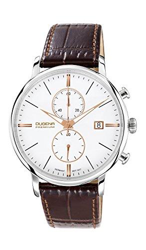 Dugena Premium Festa 7000169 - Reloj cronógrafo de cuarzo para hombre, correa de cuero color marrón (cronómetro)