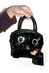 Ranch Mink Mini Evening Bag w/Crystal Rings