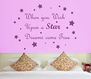 when you wish upon a star quote wall sticker art decal
