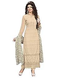 Isha Enterprise Women's Schilli Dress Material(KFD372-1009_Cream)