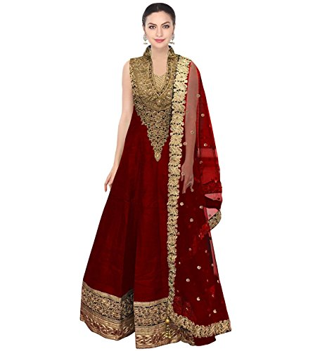 FabTexo-Red-Raw-silk-long-Dress-for-womenSemi-Stitched