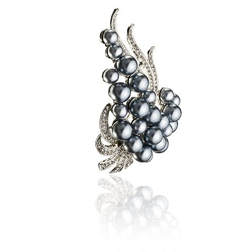 14K Gold Or Silver Rhodium Plated Stylised Design Vintage Paisley Pearls Brooch Pin With Swarovski Clear Crystals Stems
