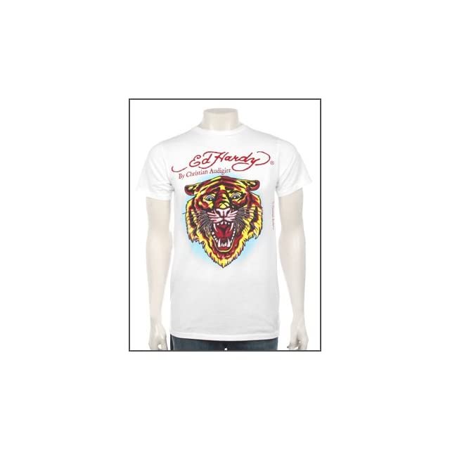 Ed Hardy mens Big & Tall New Tiger Shirt White Size 3X