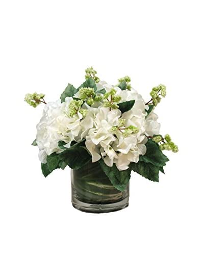 Creative Displays Hydrangeas & Snowball Vine in Glass Container, Green/White