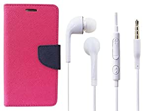 Novo Style Book Style Folio Wallet Case Xiaomi Redmi 4G Pink + Earphone / Handsfree with 3.5mm jack