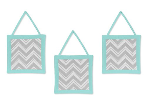 Turquoise and Gray Chevron Zig Zag Wall Hanging Accessories by Sweet Jojo Designs - 1