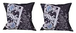 meSleep Digitally Printed 2 Piece Cushion Cover Set - Black and White