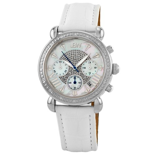 "JBW Women's JB-6210L-Q ""Victory"" Leather Diamond Chronograph Watch"