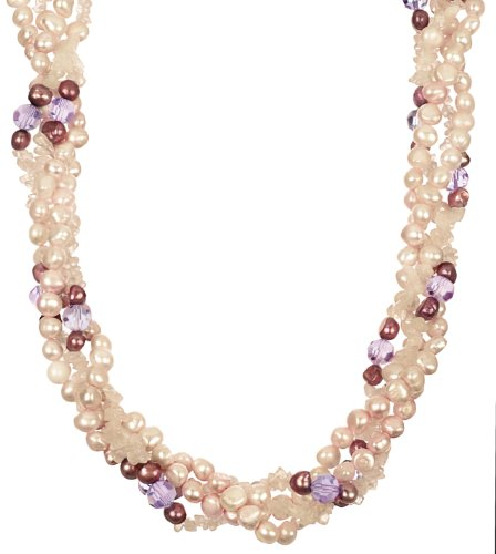 Pink and Cranberry Color Fresh Water Pearl, Lilac Color Faceted Cut Glass Bead and Rose Quartz Chip with Silver Tone Shortener Twister Necklace