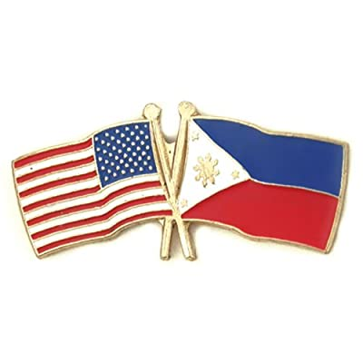 USA and Philippines Crossed Friendship Flag Lapel Pin