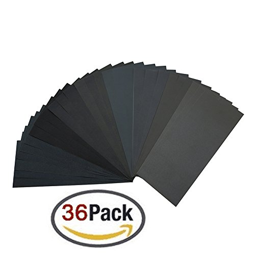 400 to 3000 Grit Sandpaper Assortment, Dry/ Wet, 9 x 3.6 Inch, 36 Pieces,Sand Paper for Automotive Sanding, Wood Furniture Finishing and Wood Turning Finishing (1000 Grit Sandpaper compare prices)