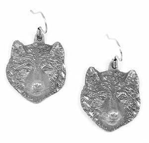 Earth Spirit Earrings - Wolf Head - Earth Spirit Earrings - Wolf Head