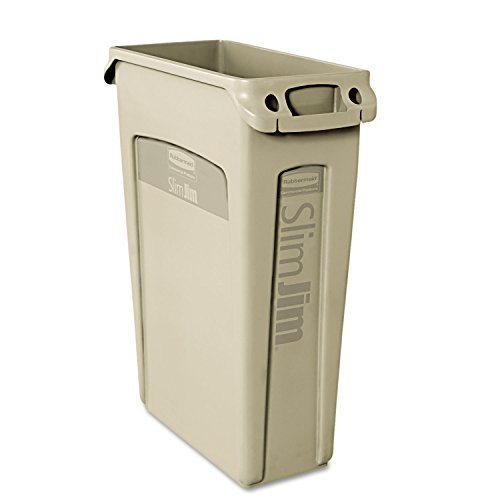 Rubbermaid Commercial Slim Jim Trash Can,23 Gallon, Beige, FG354060BEIG (Commercial Garbage Container compare prices)