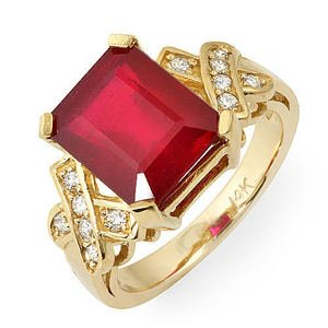 Vintage 6.80 Ct Natural Ruby & Diamond Ring 14k Gold by Passion Gems