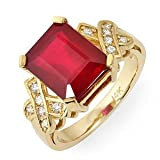 Vintage 6.80 Ct Natural Ruby & Diamond Ring 14k Gold