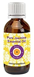Pure Jasmine Essential Oil 2ml (Jasminum grandiflorum) 100% Pure & Natural by Deve Herbes