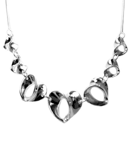 925 Sterling Silver Toned Twist Heart Strings Necklace