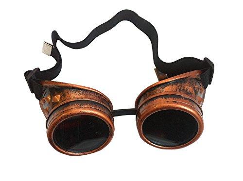 AikeSweet Steampunk ottone antico Argento Rame Cyber Goggles Saldatura Goth Cosplay epoca gotica Occhiali di sicurezza & vetri (rame)