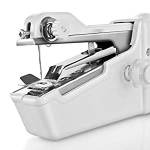 Handheld Sewing Machine Mini Portable Handy Electric Household Quick Stitch Tool for Easy Repair DIY Fabric Clothes in Home or Travel Use with Threads Needles Accessories by Flexzion