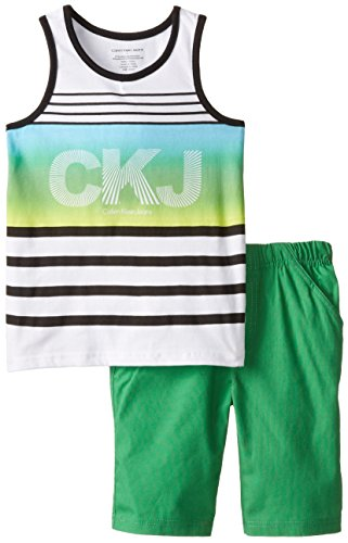 Calvin Klein Little Boys' White Tank Top with Green Shorts