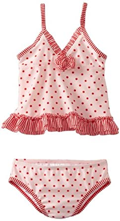 ABSORBA Baby-Girls Infant Red Dot Swimsuit Two Piece, Multi, 18