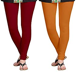 Aannie Women's Cotton Slim Fit Leggings Combo Pack of 2(X-Large,Brownish Red,Soil Red)
