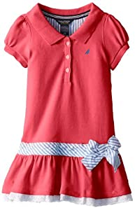 Nautica Girls 2-6X Pique Dress with Sash and Eyelet by Nautica