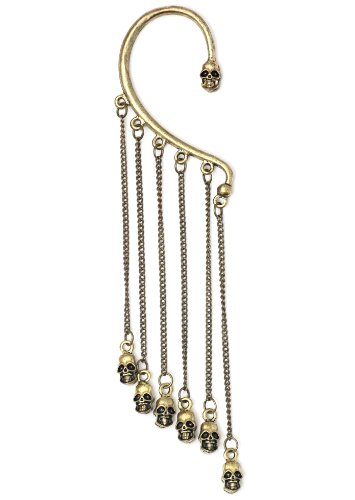 Skulls Ear Cuff Metal Wrap Gold Tone Chandelier Voodoo Skeleton Gothic Punk Earring Fashion Jewelry