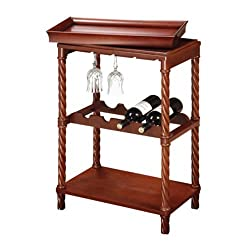 Read-to-serve Wine Rack / Bar Stand - Vintage Cherry Finish
