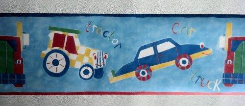 Kids Transportation Wallpaper Border - Cars, Trucks, Tractors - Blue LY70201B (Truck Border compare prices)
