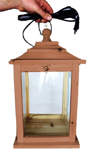 Holzlaterne, als Glasvitrine mit Beleuchtung, mit Glas und Holz - Rahmen, mit Holz - Deko KL-OFOS-DUNKELBRAUN aus Holz dunkelbraun Teak Look Holz