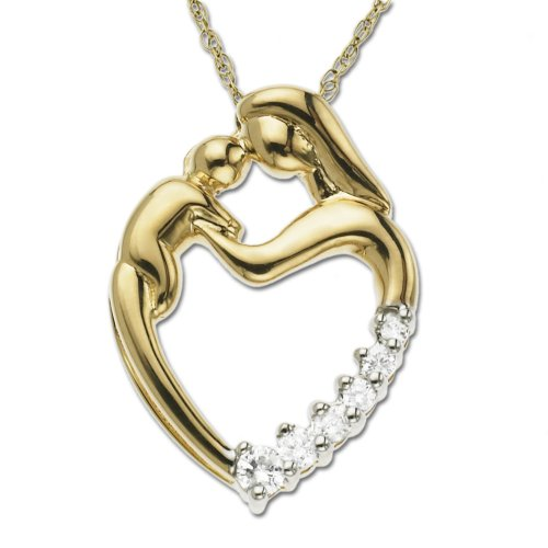 Mom Diamond Heart Pendant in 10k Yellow Gold
