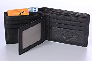 TAILIAN Fashion Men's Royal Genuine Leather RFID Blocking Secure Wallet Pockets (black long)