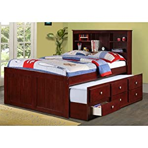 Captain Bed with Trundle and Bookcase Size: Full from Donco Kids
